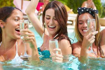girls on a pool party